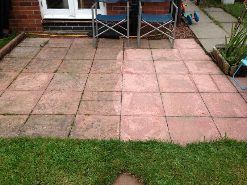 partially cleaned patio